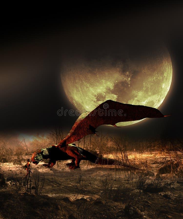 通过驯服在月亮下的野兽 库存例证
