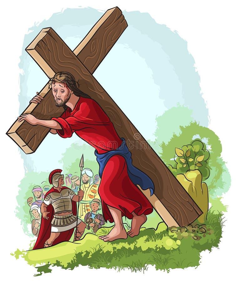 通过Crucis。耶稣基督运载的十字架 向量例证