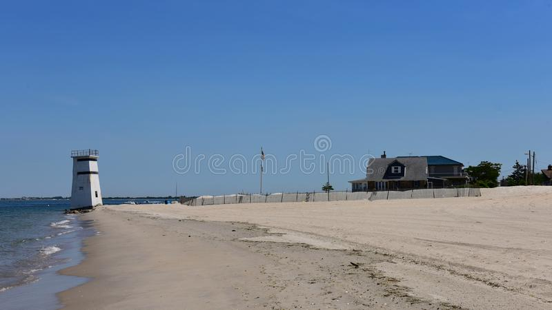 通风点女王/王后纽约沿海地带私有海滩 图库摄影