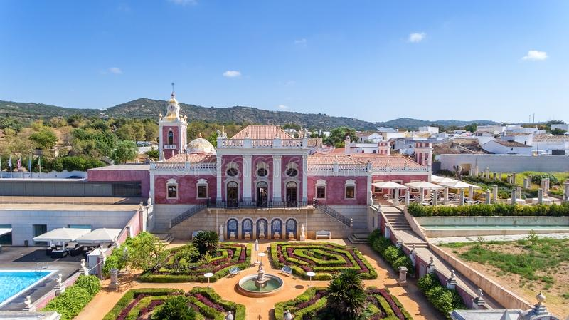 通风 Estoi宫殿和庭院阿尔加威,葡萄牙,法鲁 库存照片