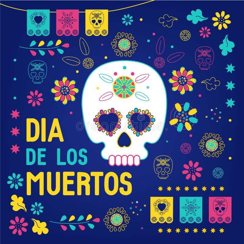 逝者日,Dia de los muertos蓝色背景,方旗,贺卡 带糖头骨或 向量例证
