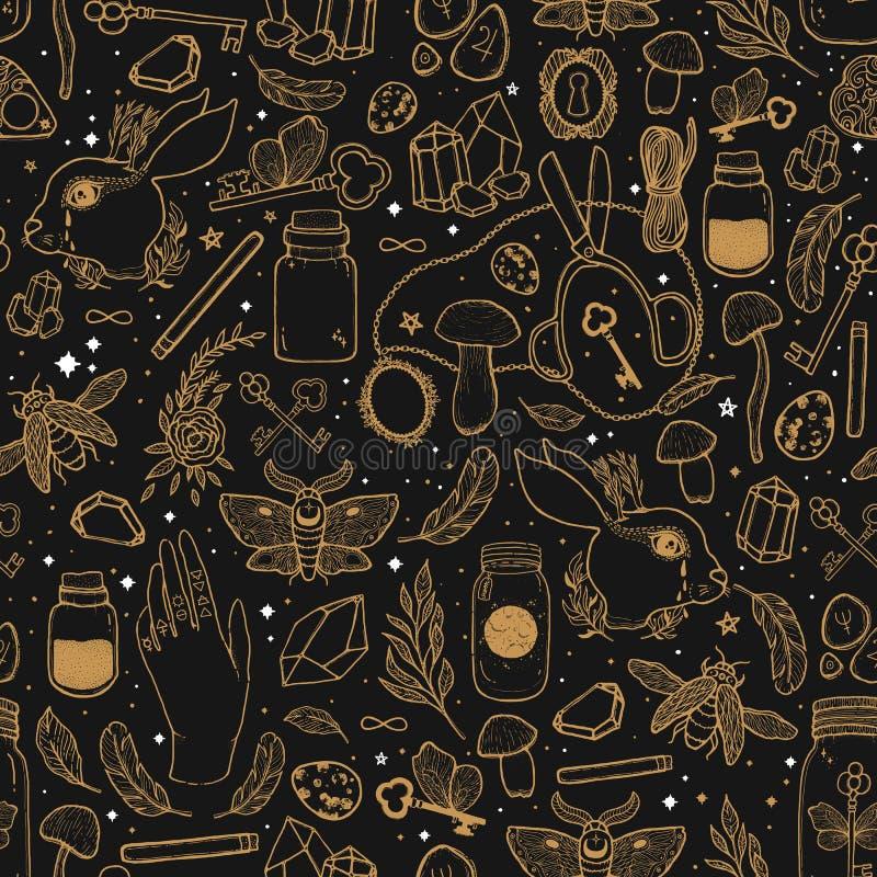 速写与神秘和隐密手拉的标志的图表无缝的样式例证 不可思议和神秘的概念 葡萄酒 向量例证