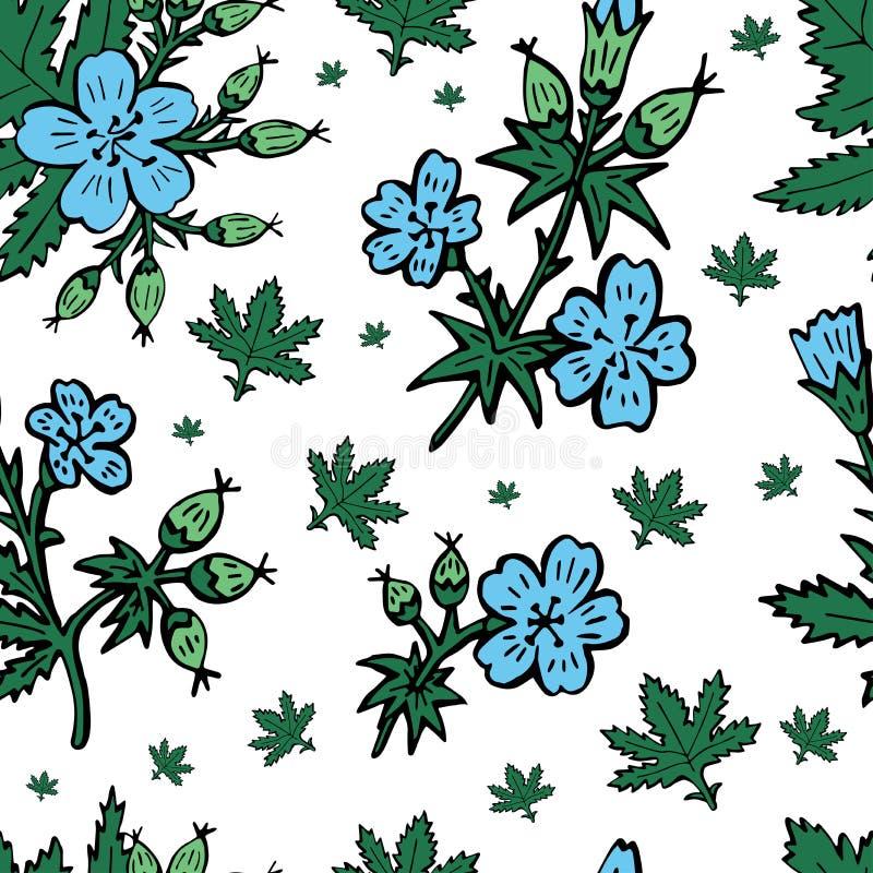 速写与花卉样式的向量图形设计的 花自然设计 向量例证