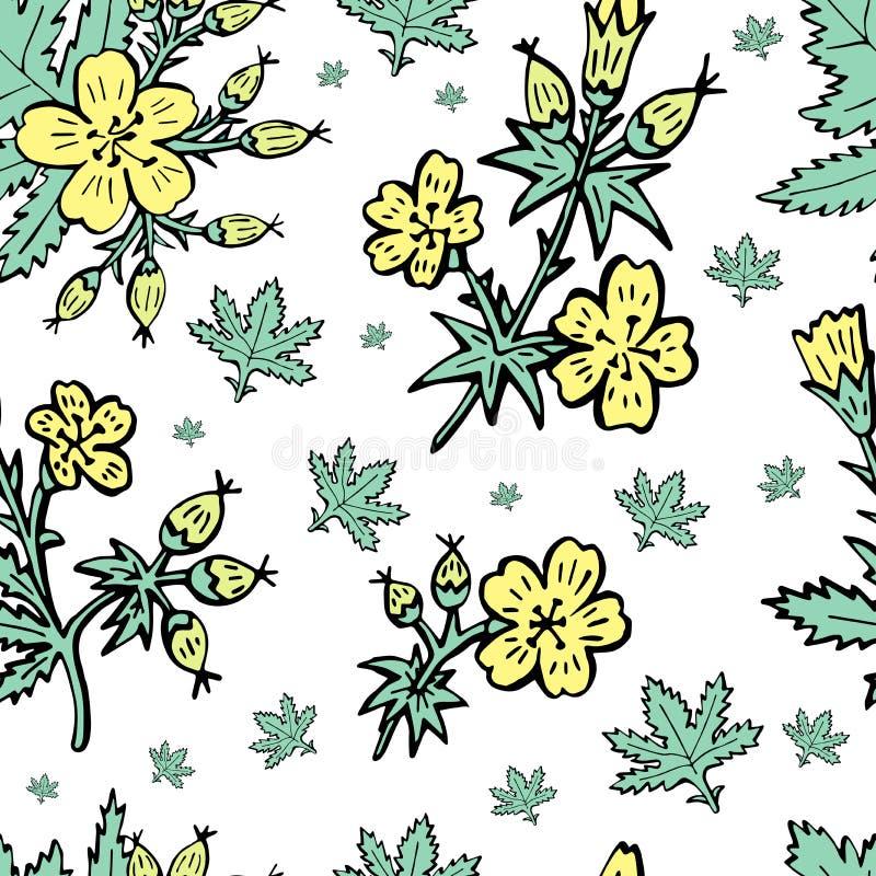 速写与花卉样式的向量图形设计的 花自然设计 库存例证