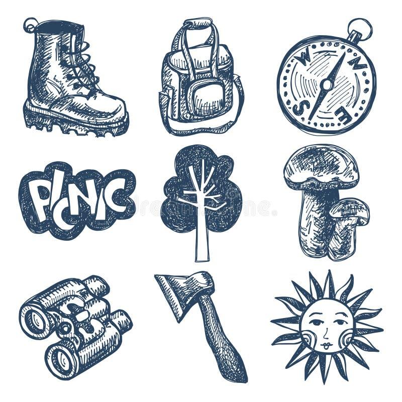 速写乱画象汇集,去野餐,旅行和 向量例证