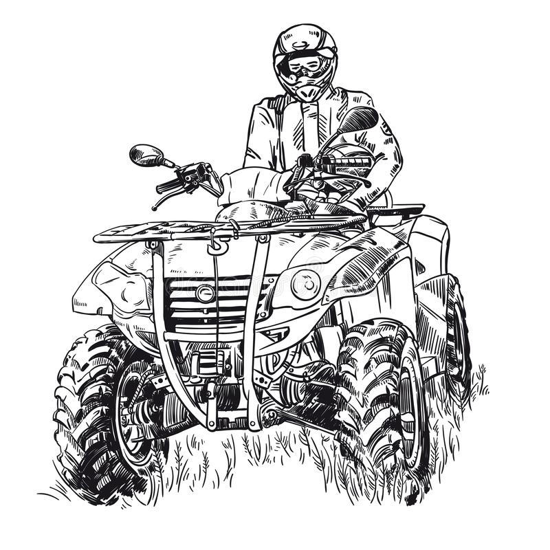 速写传染媒介例证,方形字体自行车剪影, atv在白色背景的商标设计图片