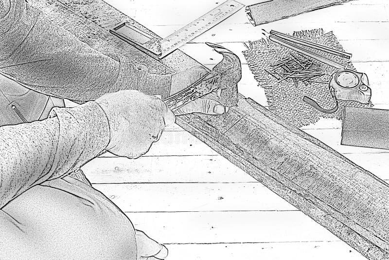 速写使用锤子和钉子的男性木匠在工作地点 背景工匠工具 放大 图库摄影