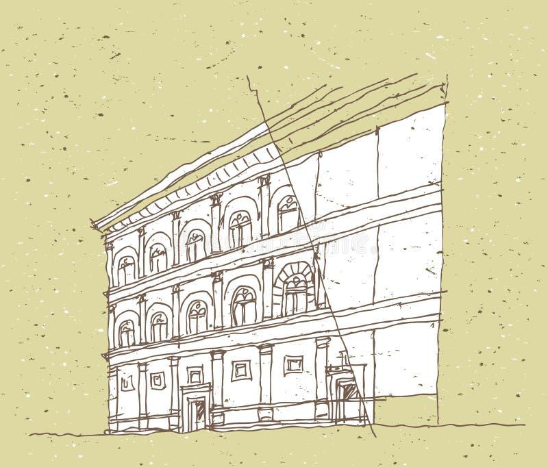 速写历史建筑学在意大利 皇族释放例证