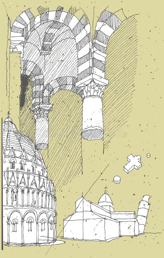 速写历史建筑学在意大利: 比萨 库存例证