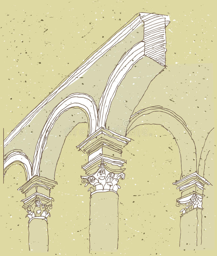 速写历史建筑学在意大利 库存例证