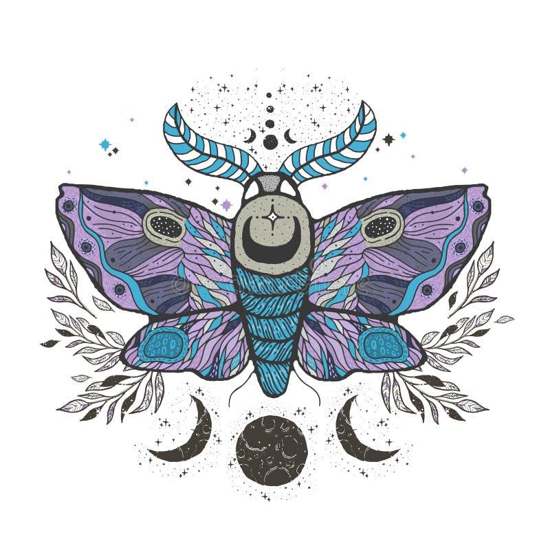 速写图表与神秘和隐密手拉的标志的例证美丽的飞蛾 也corel凹道例证向量 万圣夜和神秘 向量例证