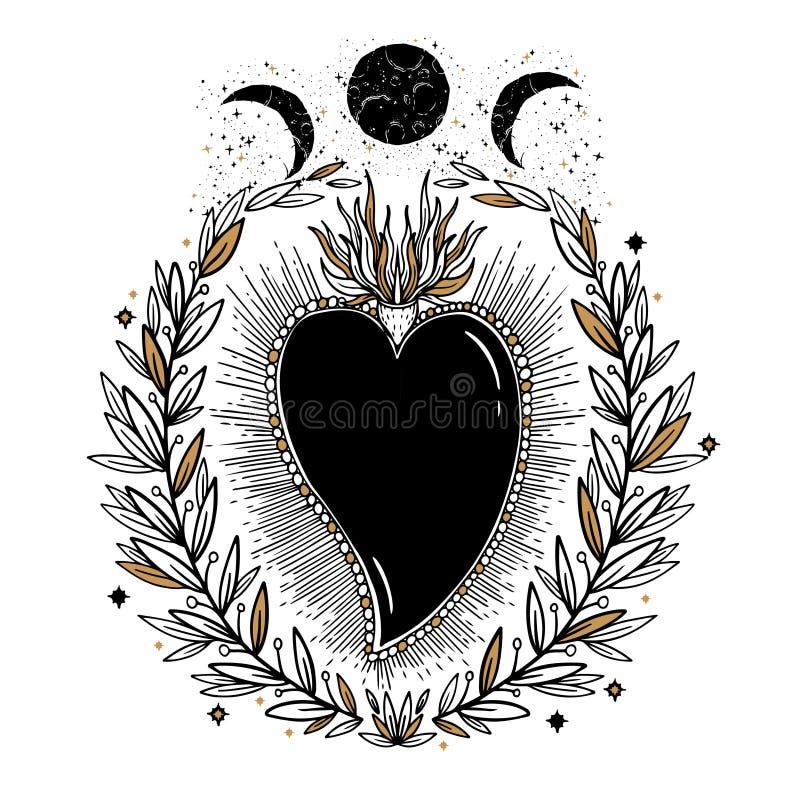 速写图表与神秘和隐密手拉的标志的例证美好的心脏 也corel凹道例证向量 有老的葡萄酒手 皇族释放例证