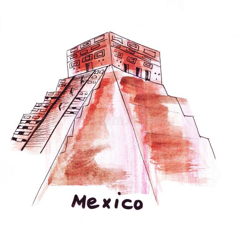 速写太阳金字塔的stationIllustration地标在墨西哥 向量例证