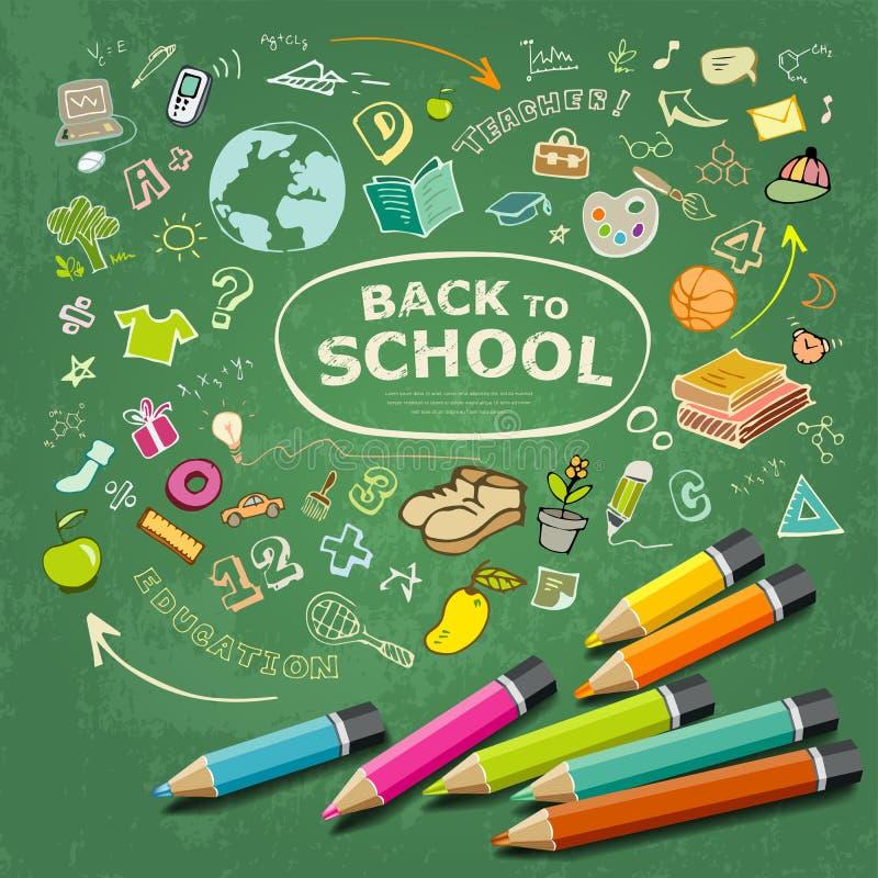 速写手拉的教育象和五颜六色的铅笔想法 向量例证