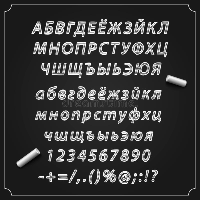 速写斯拉夫语字母的字体、委员会有一套的标志,字母表和数字,传染媒介例证, 皇族释放例证