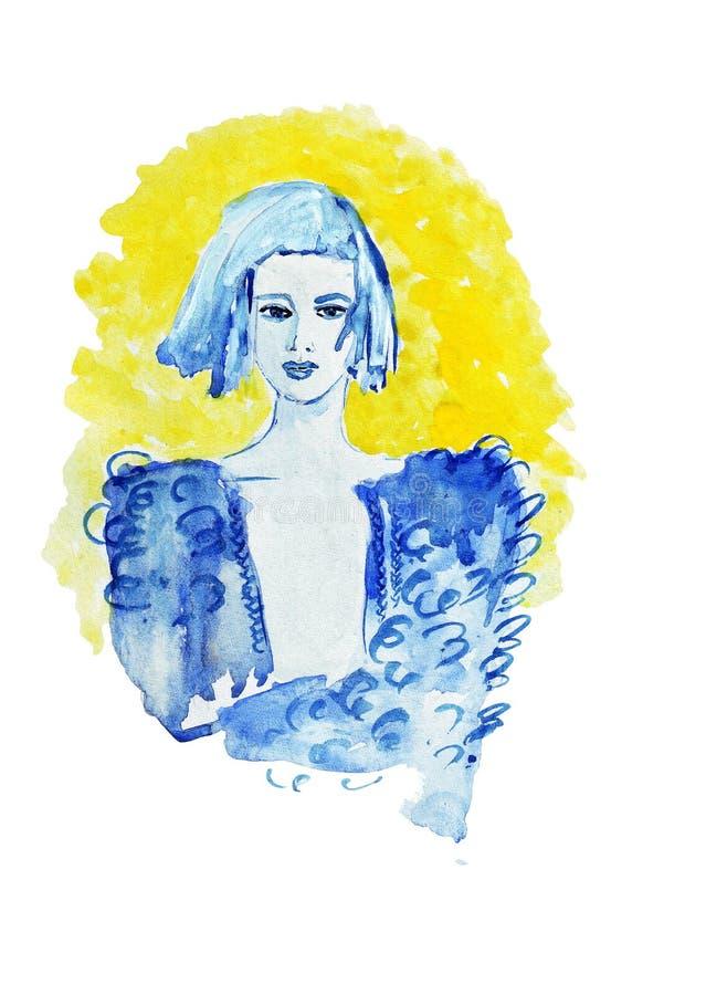 速写有射击蓝色头发的例证侈奢的时尚女孩在黄色背景 皇族释放例证