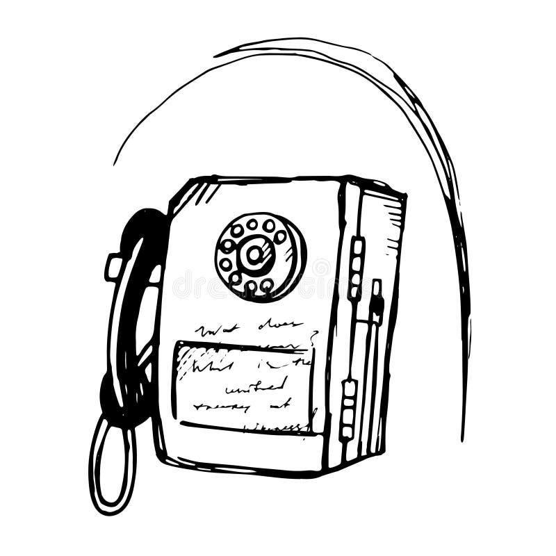 速写样式一个投入硬币后自动操作的公开投币式公用电话的传染媒介例证 库存例证