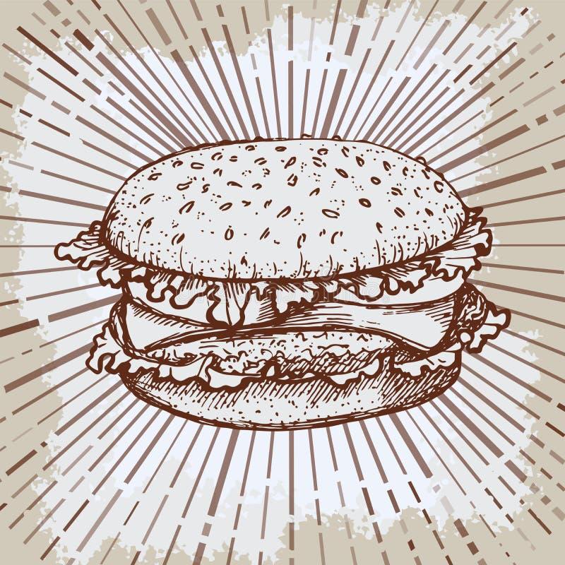 速写汉堡包或汉堡传染媒介商标设计模板 快餐,餐馆象 手拉的葡萄酒例证海报 皇族释放例证