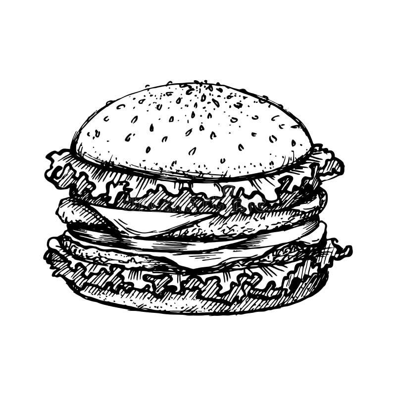 速写汉堡包或汉堡传染媒介商标设计模板 快餐,餐馆象 象查找的画笔活性炭被画的现有量例证以图例解释者做柔和的淡色彩对传统 向量例证