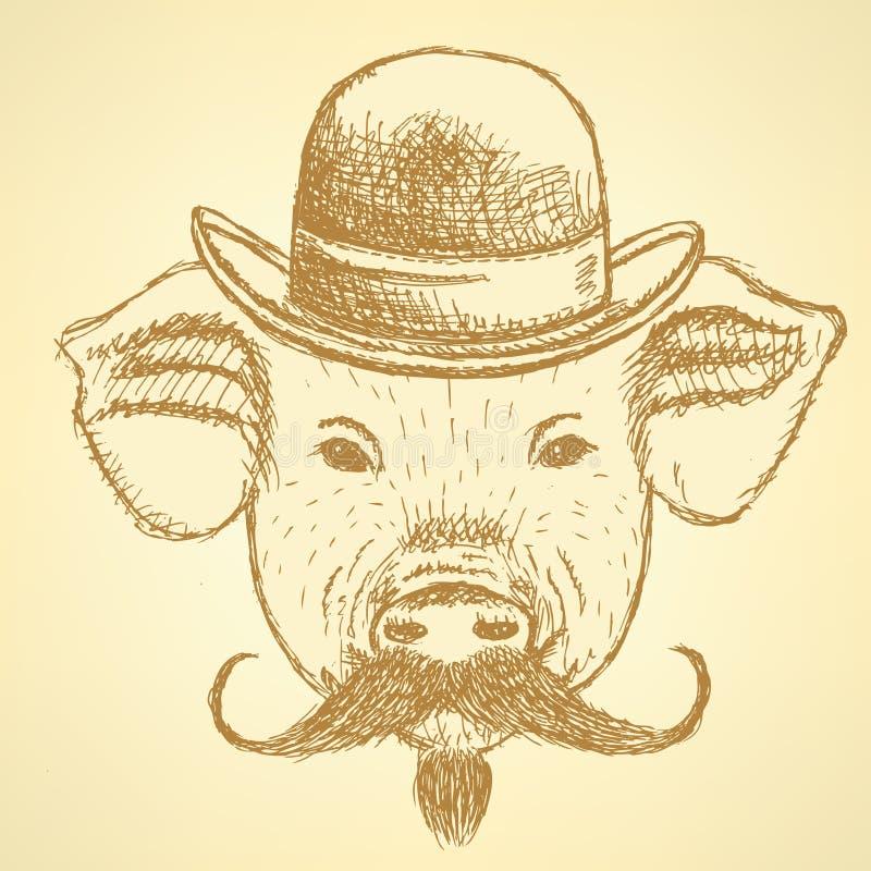 速写猪在有mustche的,传染媒介ackground帽子 免版税库存照片