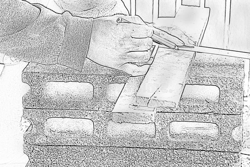 速写男性木匠与木铅笔一起使用在工作地点 背景工匠工具 徒升in1 库存照片