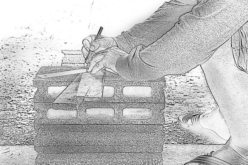 速写男性木匠与木铅笔一起使用在工作地点 背景工匠工具 放大 向量例证