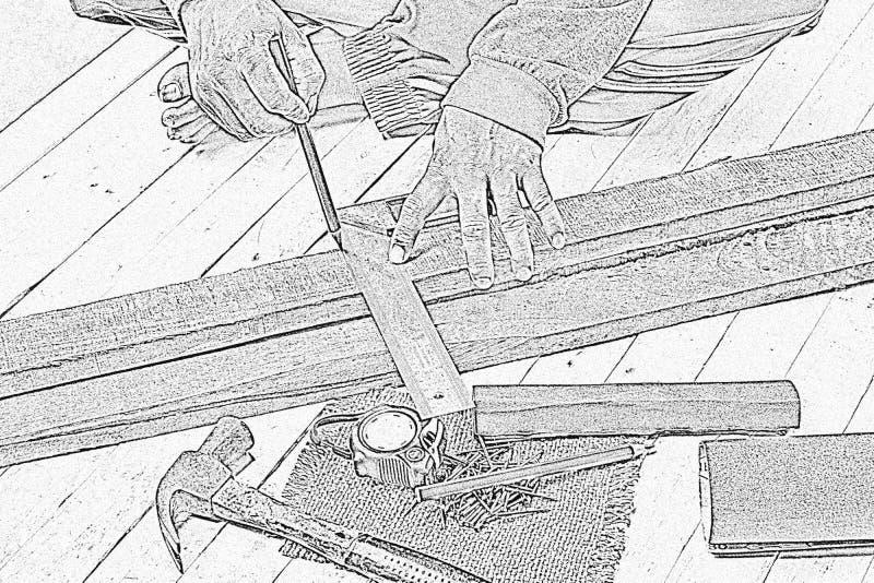 速写男性木匠与木铅笔和工具一起使用在工作地点 背景工匠工具 徒升in1 免版税库存照片