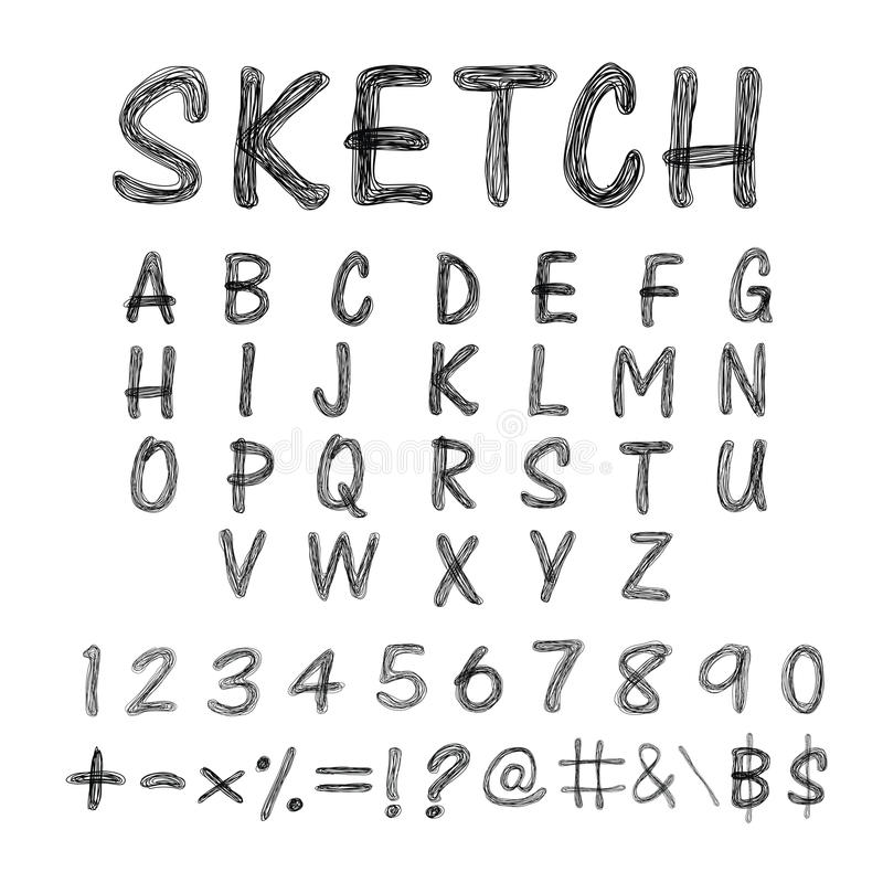 速写的字母表 向量例证