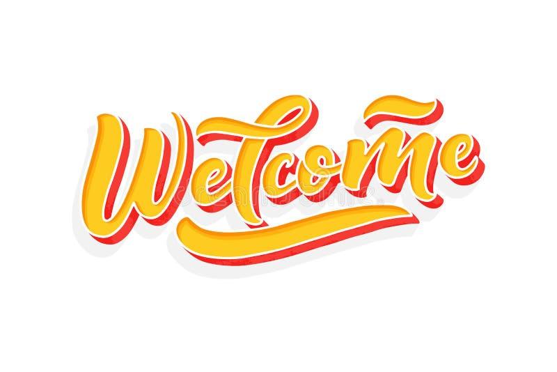 速写的手-欢迎,在印刷术上写字的3D 拉长的艺术标志 诱导文本 略写法的,徽章,象问候 库存例证