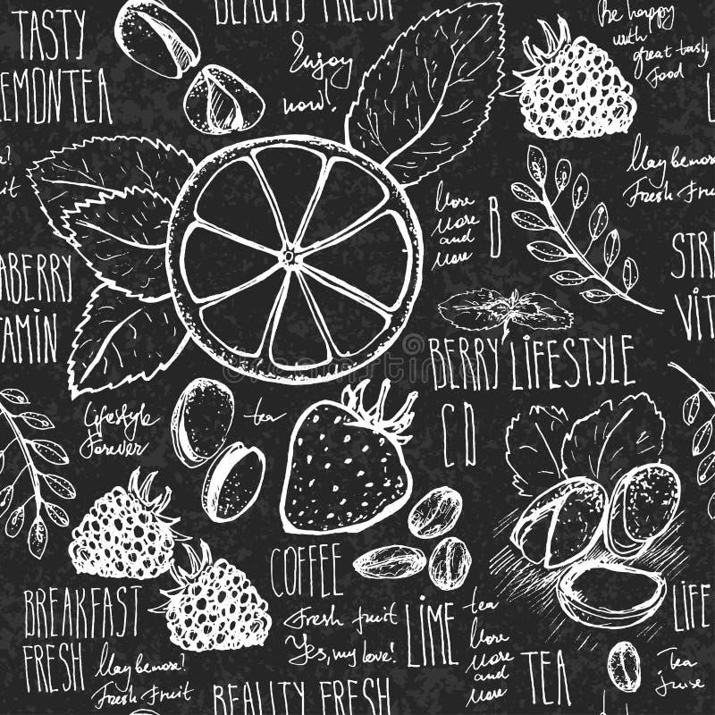 速写的早餐无缝的背景用新月形面包、柠檬和莓果 在黑人委员会的Drawned有白垩的 向量例证