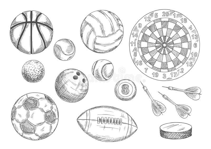 速写的球、冰球和箭项目 向量例证