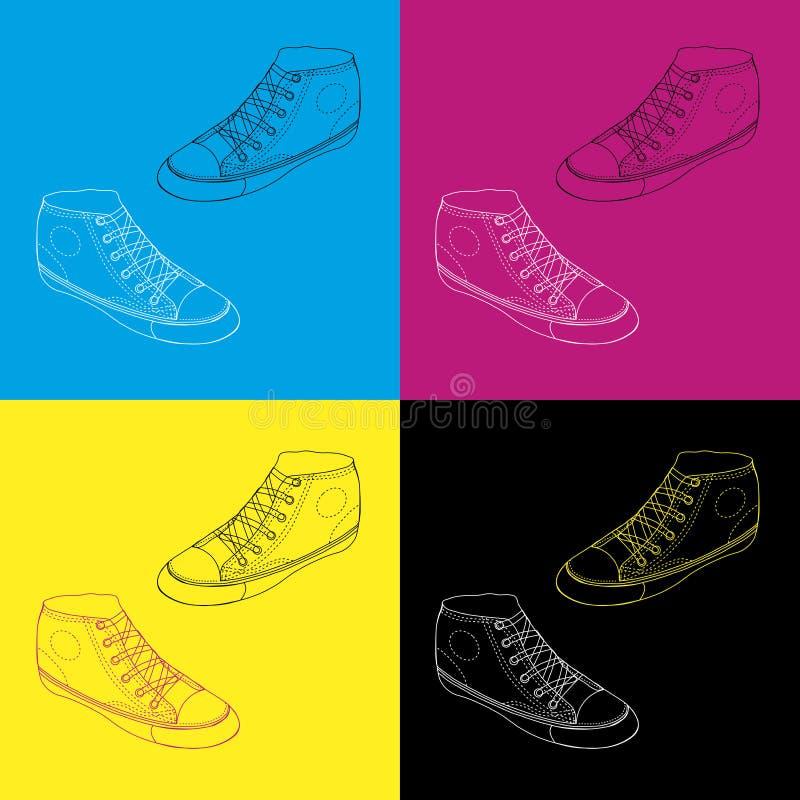 速写的经典运动鞋,传染媒介 向量例证