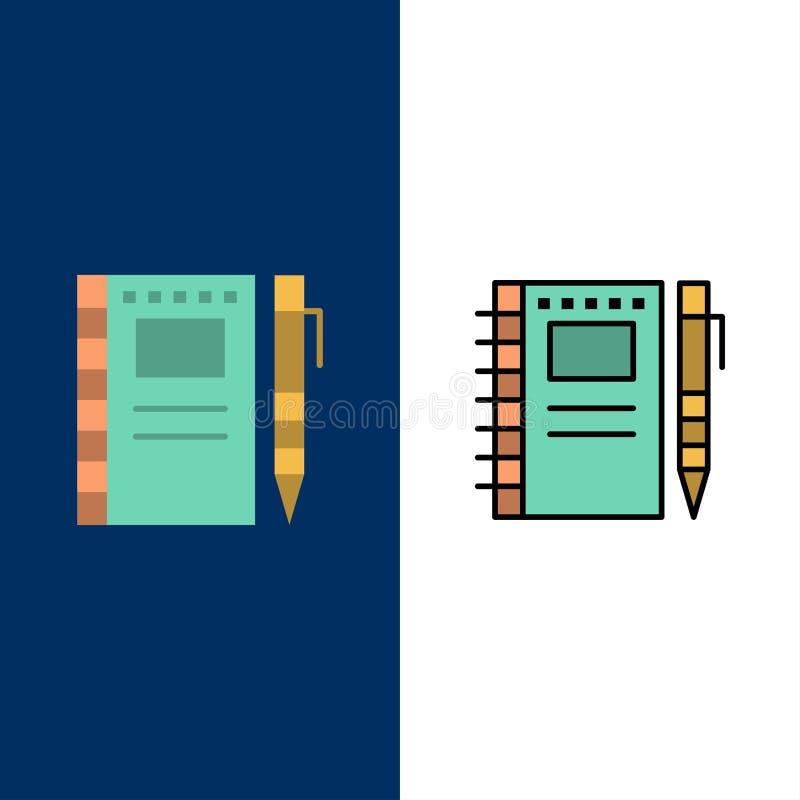 速写笔记本,图画,笔记本,铅笔,剪影象 舱内甲板和线被填装的象设置了传染媒介蓝色背景 皇族释放例证