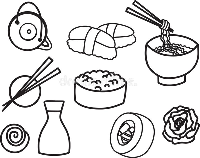 速写线食物与亚洲快餐,茶,面条和寿司卷传统海草的传染媒介例证图片