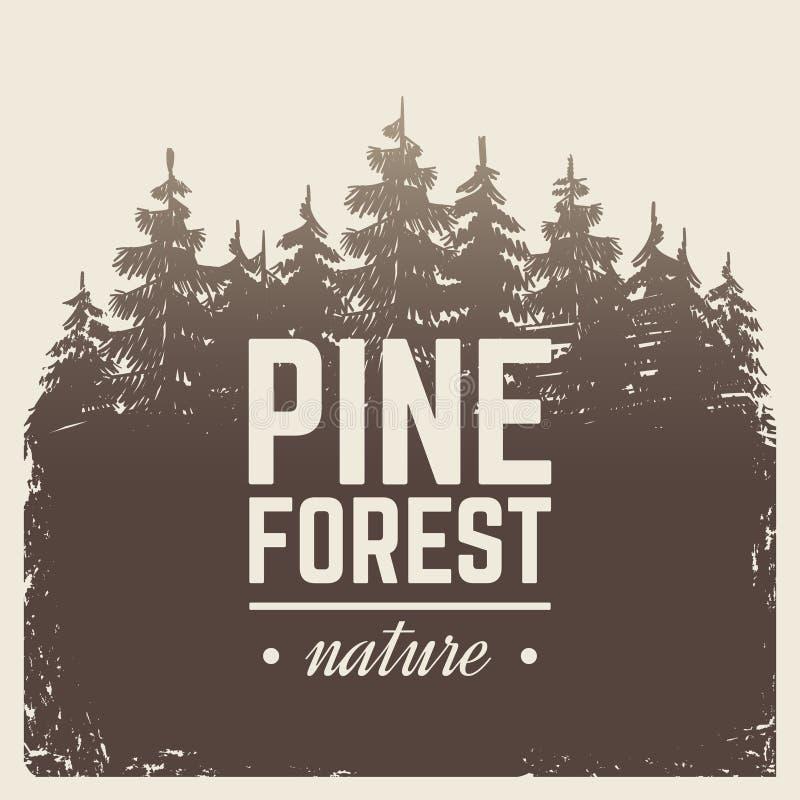 速写葡萄酒自然杉木和杉树森林在有薄雾的与剪影树的雾动画片场面传染媒介减速火箭的海报 向量例证