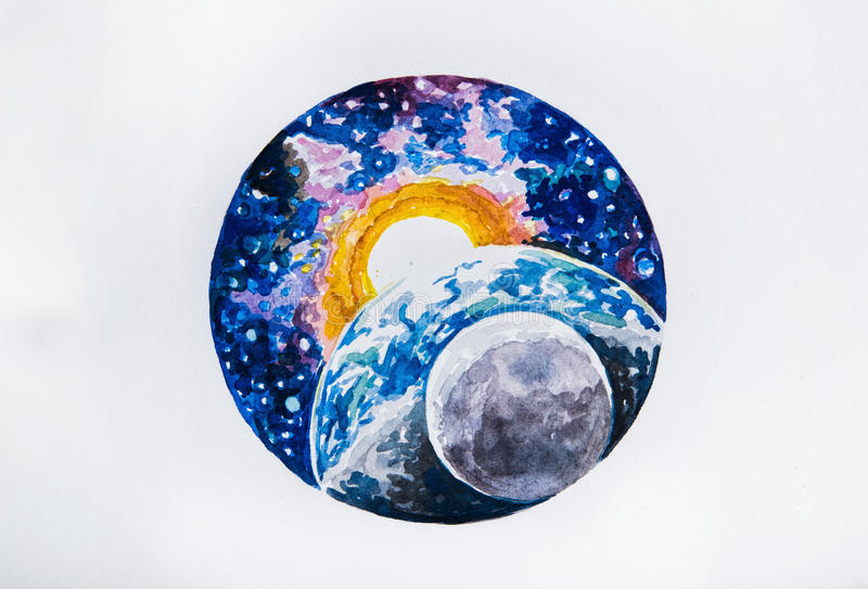 速写行星地球和太阳在白色背景 向量例证