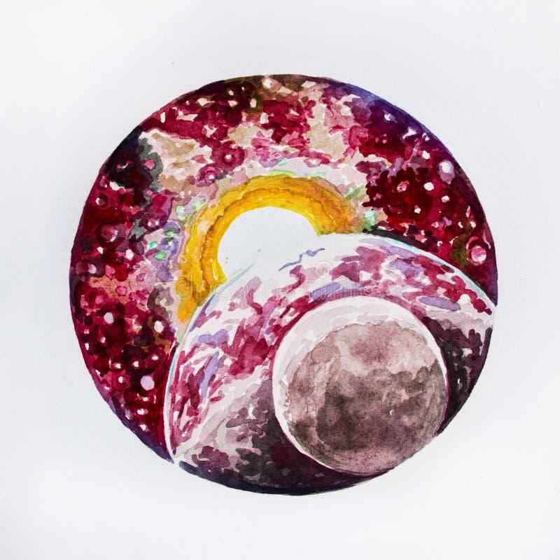 速写行星地球和太阳在白色背景 库存例证