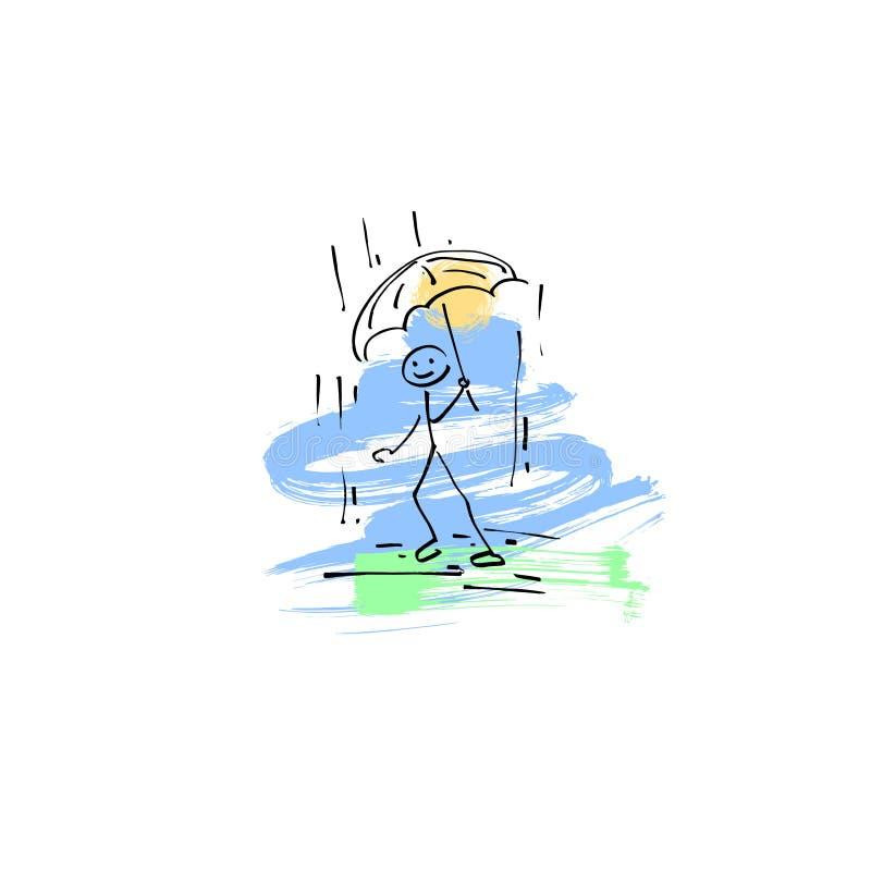 速写走乱画人的棍子的形象在雨中 皇族释放例证