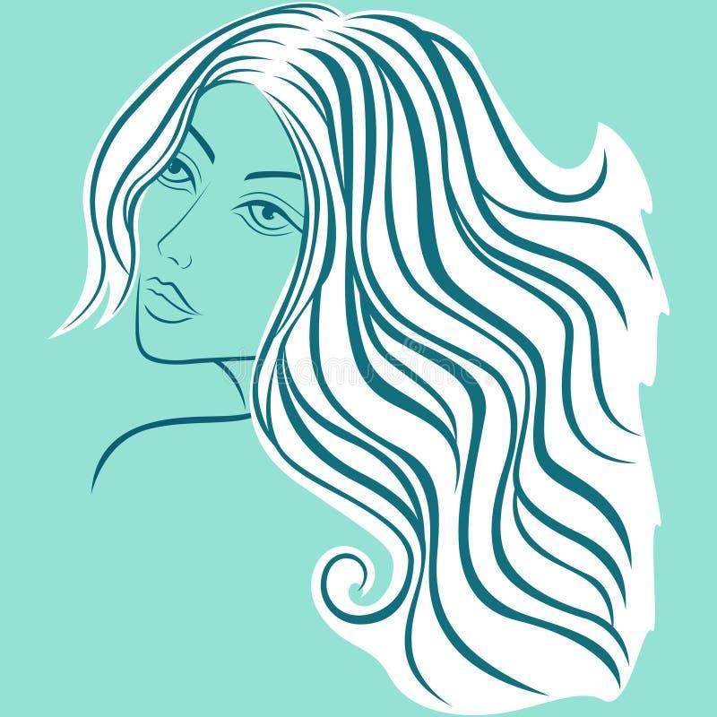 速写头的美丽的白肤金发的妇女 库存例证