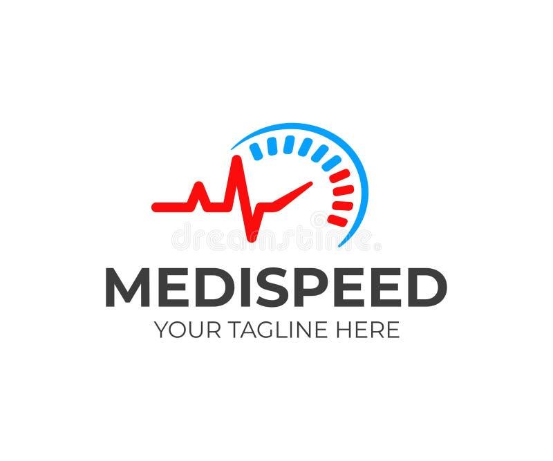 速度医疗商标设计 心跳线和车速表传染媒介设计 库存例证