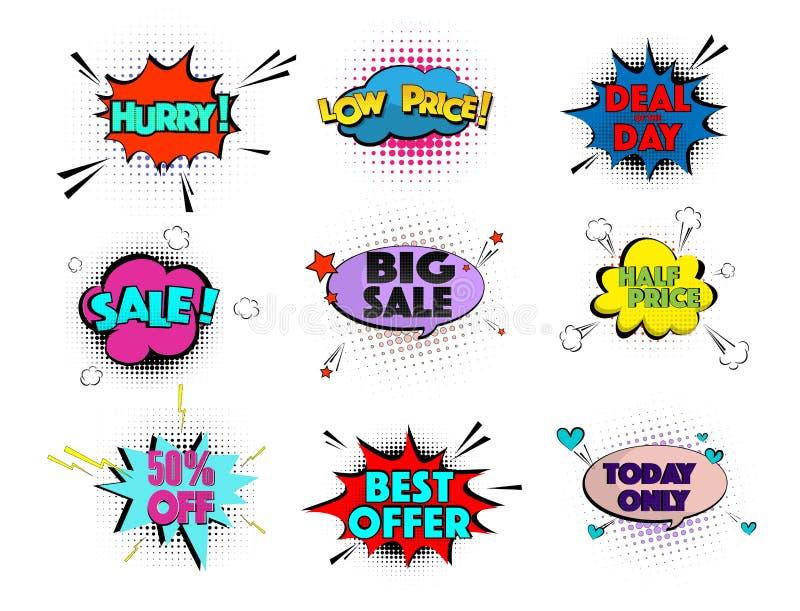 速度可笑的流行艺术销售云彩 导航元素明亮的五颜六色的标签销售,特价优待,仓促,最佳的提议,低价 向量例证