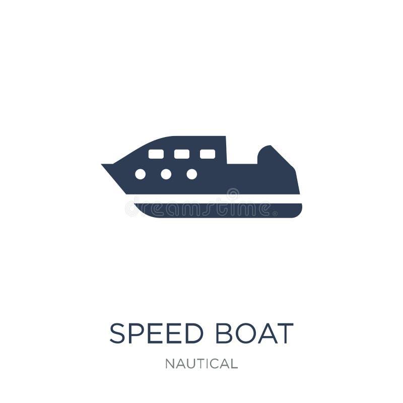 速度小船象 在白色bac的时髦平的传染媒介速度小船象 库存例证