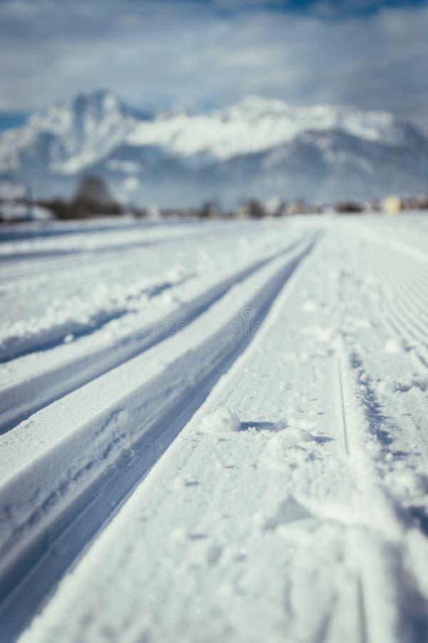 速度滑雪在奥地利:倾斜、新鲜的白色粉末雪和山,模糊的背景 免版税库存图片