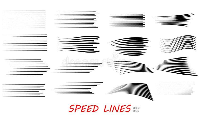 速度线被隔绝的集合 库存例证