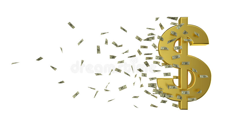 速度金美元和现金 皇族释放例证