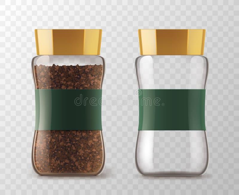 速溶咖啡玻璃瓶子模型 皇族释放例证