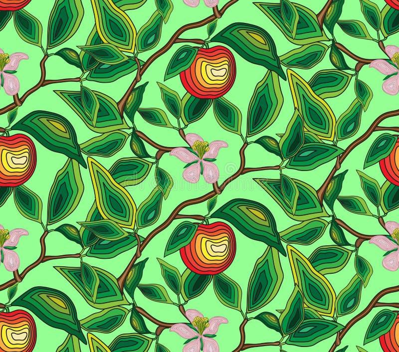 仿造一棵苹果树的无缝的分支与花和苹果的 对织品,墙纸,包装纸 皇族释放例证
