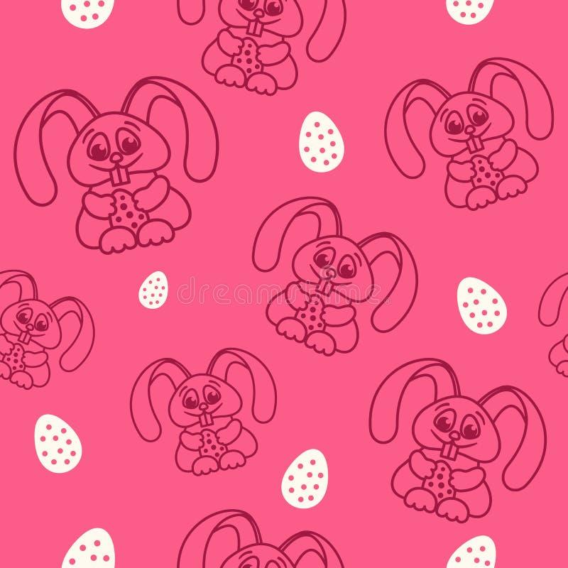仿造乐趣与复活节彩蛋无缝的纹理红色的复活节兔子 皇族释放例证