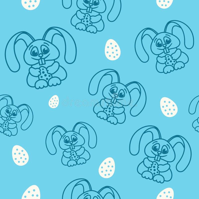 仿造乐趣与复活节彩蛋无缝的纹理蓝色的复活节兔子 向量例证