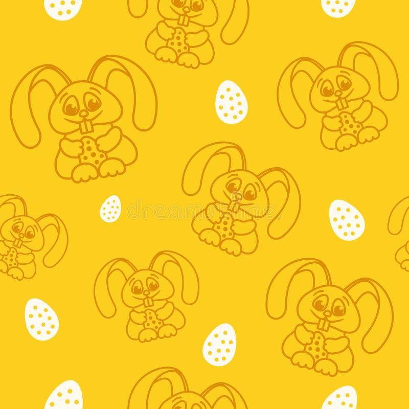 仿造乐趣与复活节彩蛋无缝的纹理orang的复活节兔子 皇族释放例证